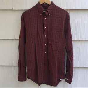 Lands End red plaid button up